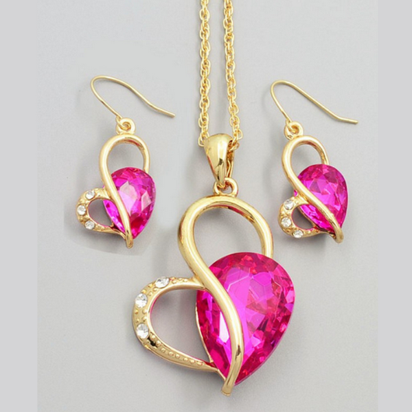 Mörkrosa Kristaller Hjärtat Halsband Set