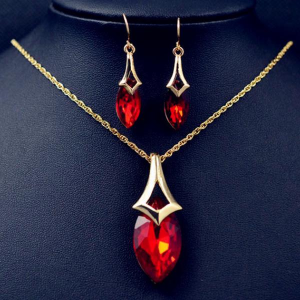 Röda Dropp Kristaller Halsband Set