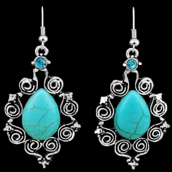 Blommor Stil Turkos Örhängen Tibetan Silver