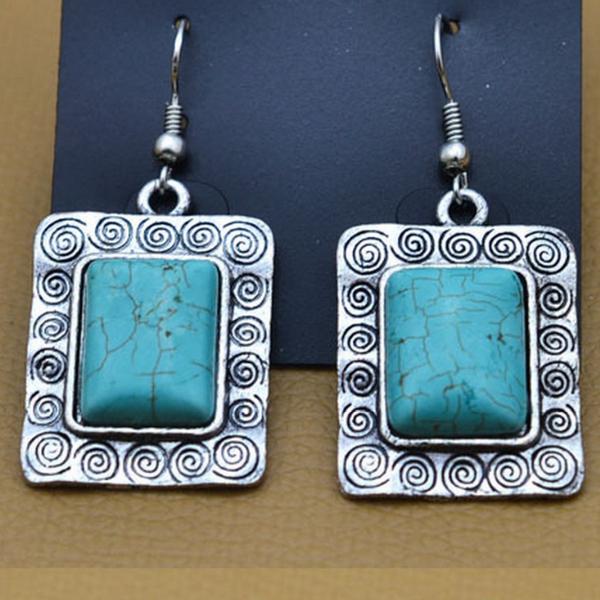 Platform Turkos Sten Örhängen Tibetan Silver