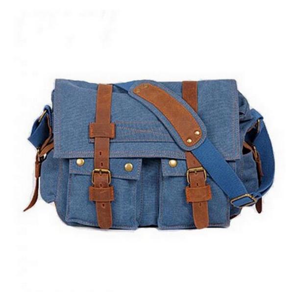 Canvas Blåa Män Vintage Messenger Väska