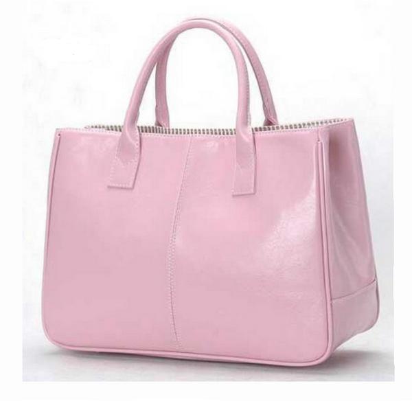 Rosa Faux Läder Handväska