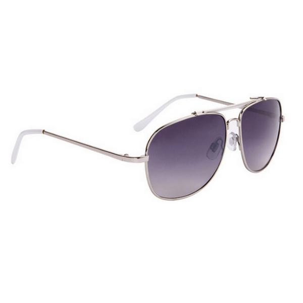 Silver med vita tips aviator solglasögon