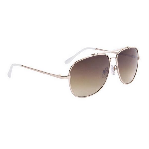 Guld med vita tips aviator solglasögon
