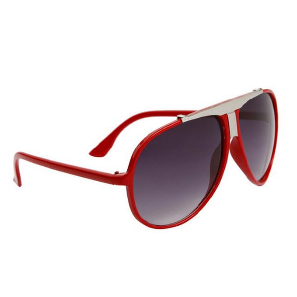 Röda aviator solglasögon