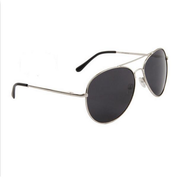 Silver smoke lens aviator solglasögon