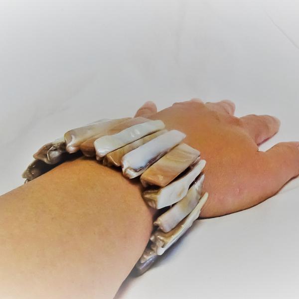 Golden Gråa Pärlemor Armband