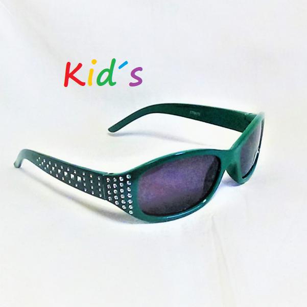Mörkgröna med glitter svarta lins barn solglasögon