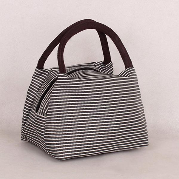 Svarta vita randiga lunch väska