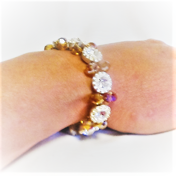 Orange vita kristall Armband
