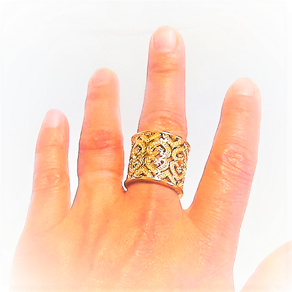 Justerbara silver gul guldpläterad ring