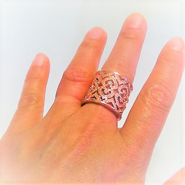 Justerbara silver rose guldpläterad ring