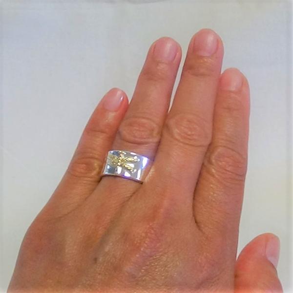 Justerbara silver trollslända motiv ring
