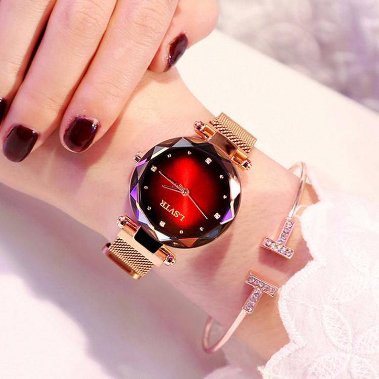 Röd Luxury Magnetklocka