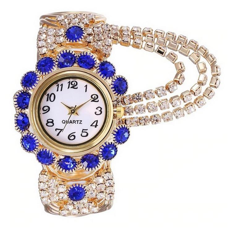 Blå Luxury Rhinestone klocka
