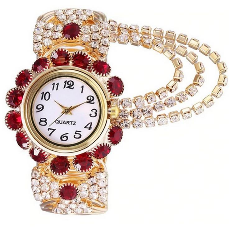 Röd Luxury Rhinestone klocka
