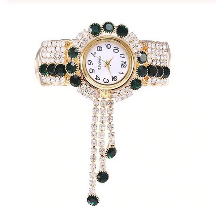 Luxury Grön Rhinestone klocka