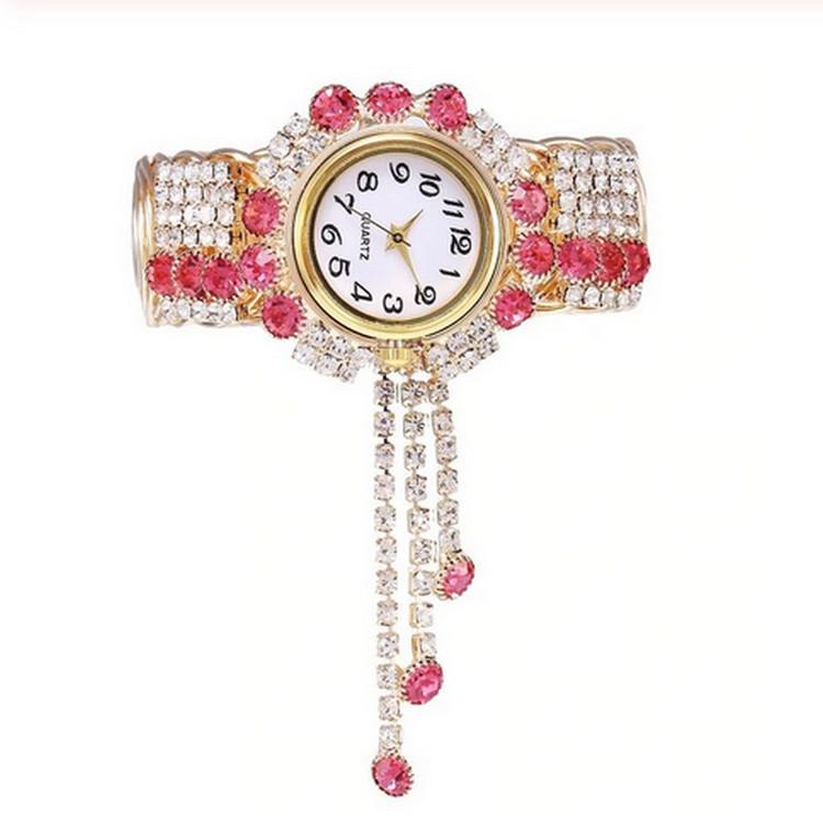 Luxury Rosa Rhinestone klocka