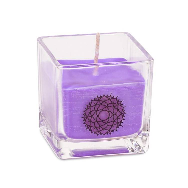 Kristallpunkten- Doftljus av ekologisk rapsvax Lila, Sahasrara chakra