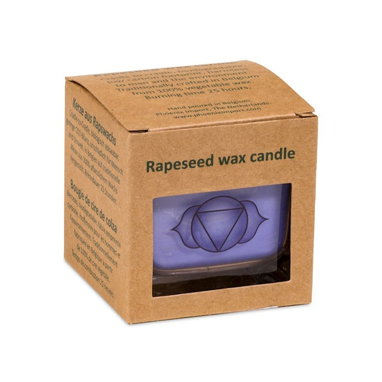 Kristallpunkten- Doftljus av ekologisk rapsvax Indingo, Ajna chakra