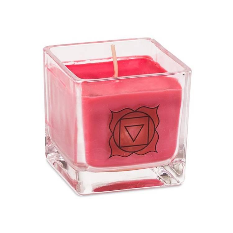 Kristallpunkten-Doftljus av ekologisk rapsvax Röd, Muladhara chakra