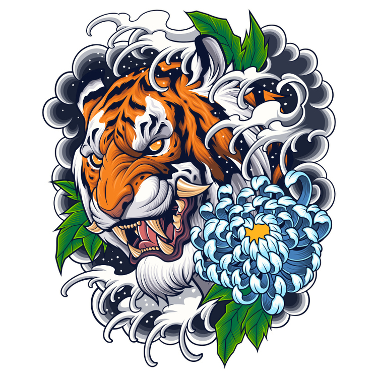 Hyttdekor - Tiger Tatto - Printad