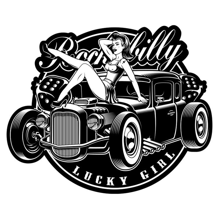 Hyttdekor - Rockabilly Lucky Girl - Printad