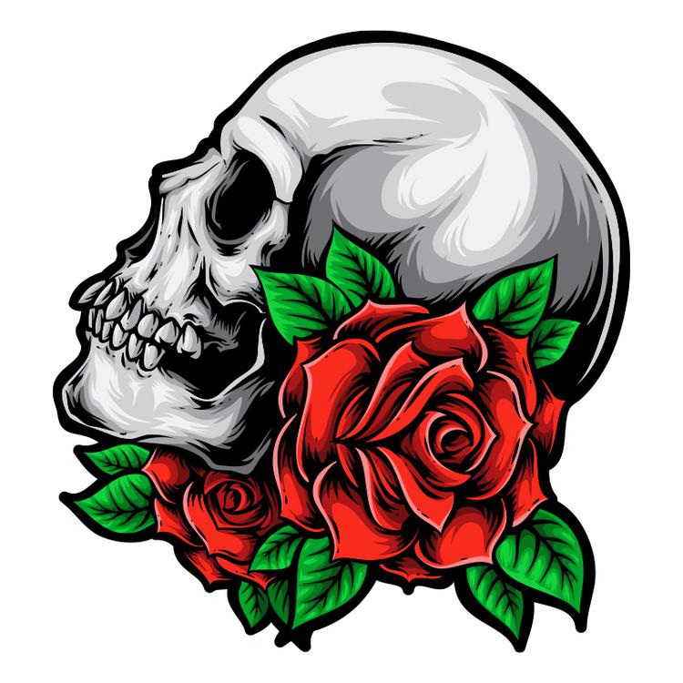 Hyttdekor - Skull with roses - Printad