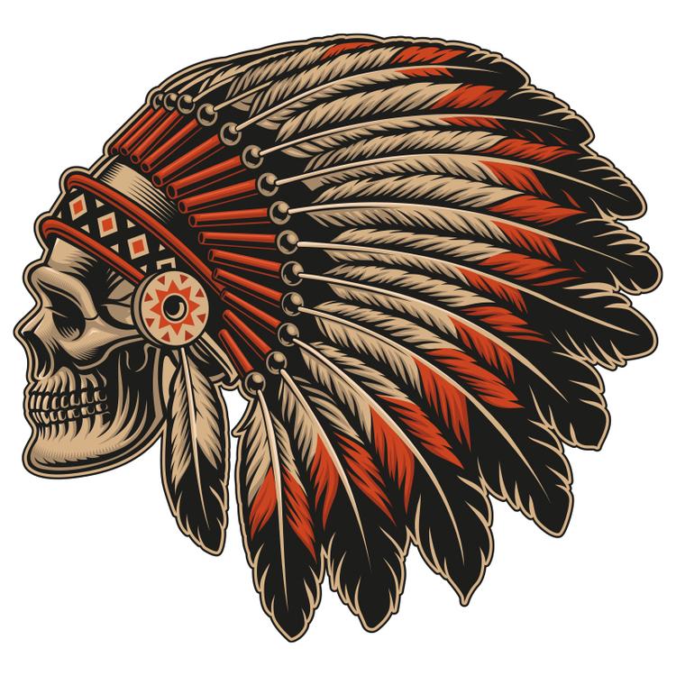 Hyttdekor - Native American Skull - Printad
