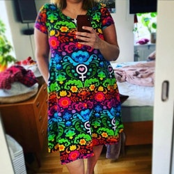 Boho Eyes Petrol/Purple groove dress kort ärm