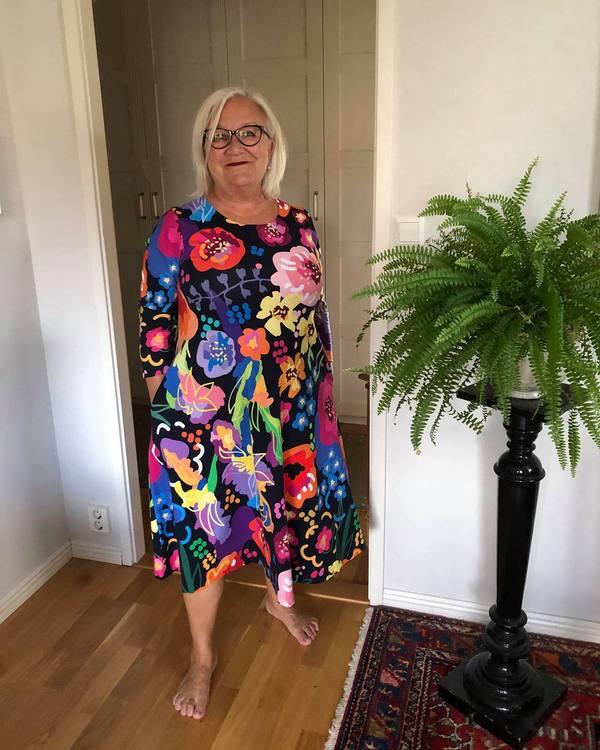 Funky Leaf Pink/Orange groove dress 3/4 ärm