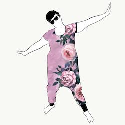 Light pink haremjumpsuit kort ärm