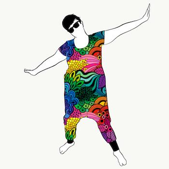 Groovy Rainbow haremjumpsuit kort ärm