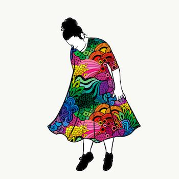 Groovy Rainbow groove dress 3/4 ärm