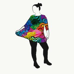 A-linje tunika Groovy Rainbow 3/4 ärm