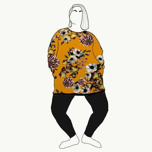 Sweatshirt Baroque flowers Okra