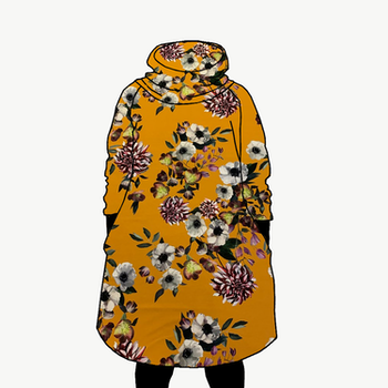Hood dress long Baroque flowers okra