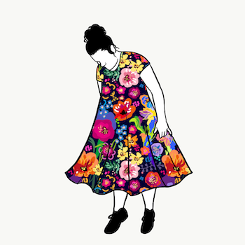 Painted Flowers groove dress kort ärm