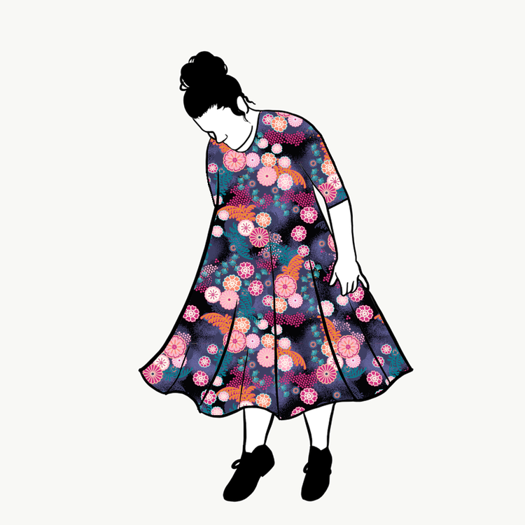 Flowers groove dress 3/4 ärm