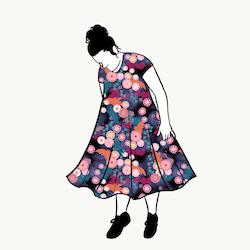 Flowers groove dress kort ärm