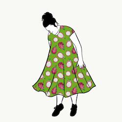 Dragon Fruit Green groove dress kort ärm