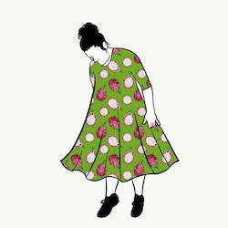 Dragon Fruit Green groove dress 3/4 ärm