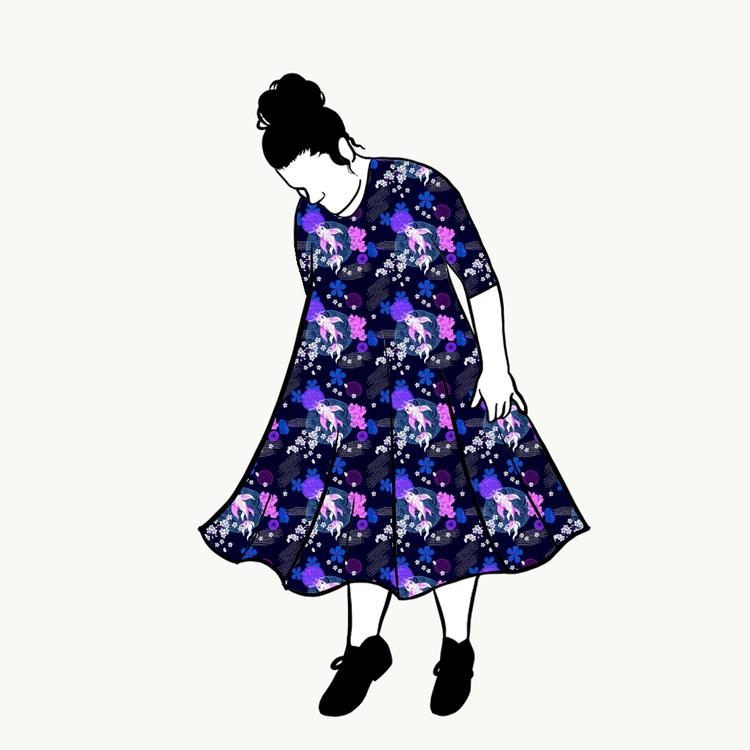 Koi Blue groove dress 3/4 ärm