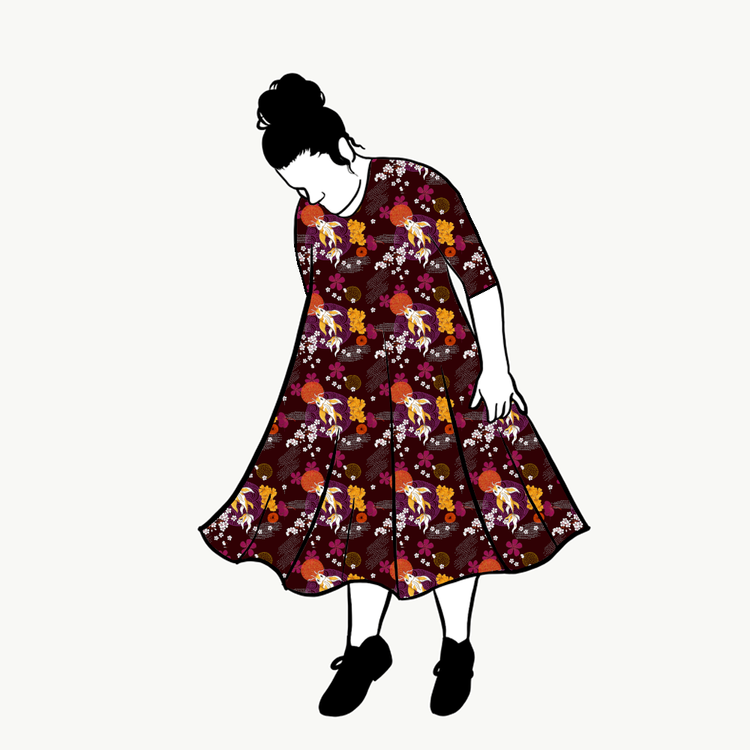 Koi Brown groove dress 3/4 ärm