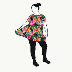 Abstract A-linje tunika kort ärm
