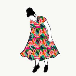 Abstract groove dress kort ärm