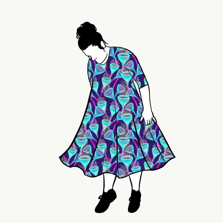 Magic Mushroom groove dress 3/4 ärm