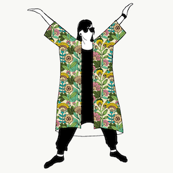 Outlined Floral Jersey kimono