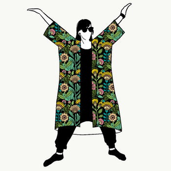 Outlined Floral Black Jersey kimono