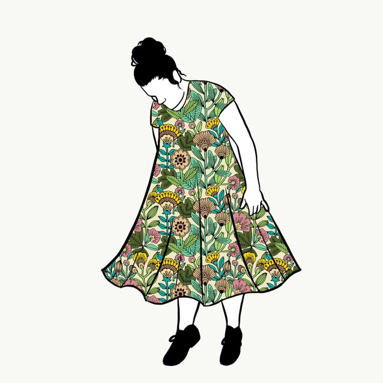 Outlined Floral dress kort ärm